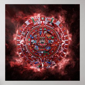Flammande Mayan kalender Poster