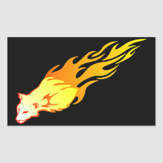 Flammande puma rektangulärt klistermärke