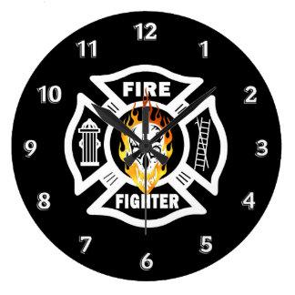 Flammande skalle för brandman stor klocka