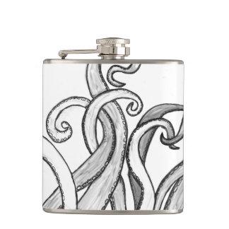Flaska, bläckfisk, abstrakt konst, svart, vit & fickplunta