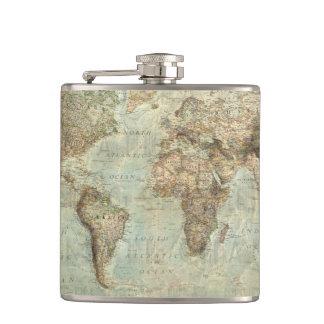 Flaska för vintagevärldskarta fickplunta