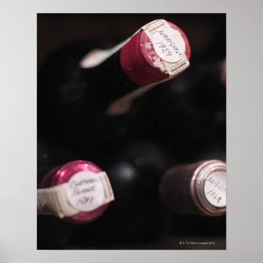 Flaskor av vin, närbild, Sweden. Affisch