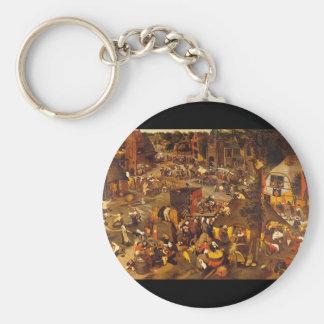 Flemish Fair', Pieter Brueghel_Dutch styr Rund Nyckelring