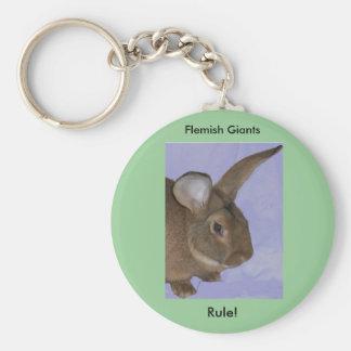 Flemish jätte- kanin Keychain Rund Nyckelring