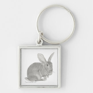 Flemish jätte- kanin skissar fyrkantig silverfärgad nyckelring