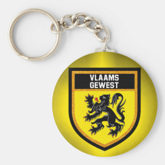 Flemish regionflagga rund nyckelring
