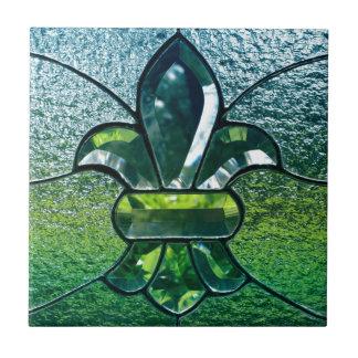 Fleur De Lis Flor New Orleans grön gnistra Kakelplatta