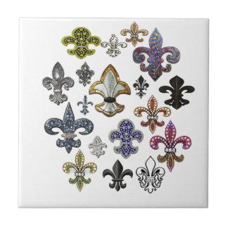 Fleur De Lis Flor New Orleans juvelgnistra Kakelplatta