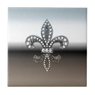 Fleur De Lis Flor New Orleans silversvart Kakelplatta
