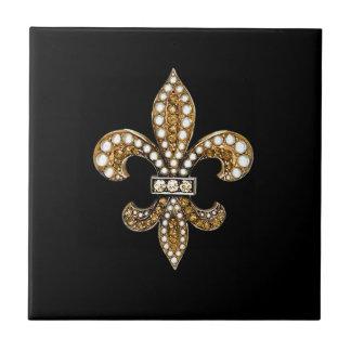 Fleur De Lis Flor New Orleans skräddarsy guld Kakelplatta