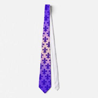 Fleur de lis för vintagelutningblått mönster slips