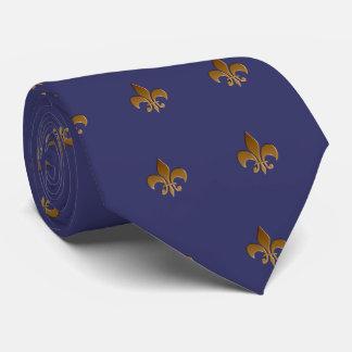 Fleur de lis/indigoblå blåttTie Slips