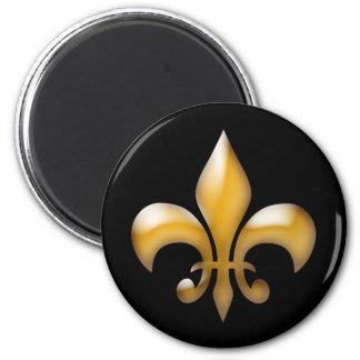 Fleur de Lis Magnet i svart och guld