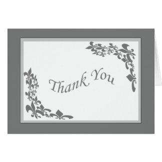 Fleur de Lis Planlägga tack (grå färg) Hälsningskort