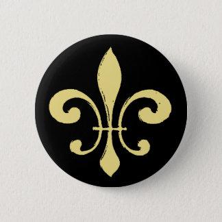 Fleur De Lis, svart och guld Standard Knapp Rund 5.7 Cm