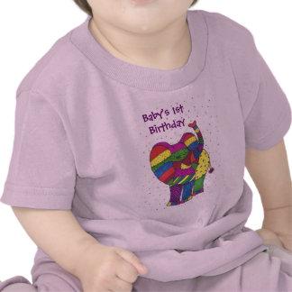 Flicka 1st födelsedagelefant tshirts