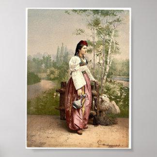 Flicka av Sarajevo, Bosnien, Austro-Ungern Poster