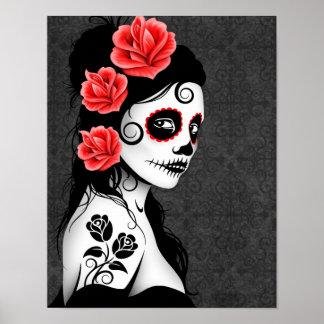 Flicka för day of the deadsockerskalle - grå färg poster
