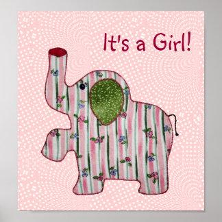 Flicka för elefant för gullig landstil rosa poster