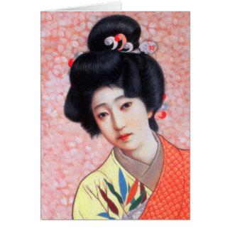 Flicka för Geisha för vintagekvinnor japansk Hälsningskort