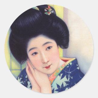 Flicka för Geisha för vintagekvinnor japansk Runt Klistermärke