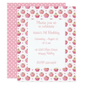 Flicka för gullig muffin rosa inbjudan för party