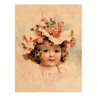 Flicka för hätta för vintagepåskro vykort