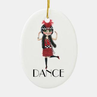 Flicka för klaff för dans20-taldräkt stort öga julgransprydnad keramik