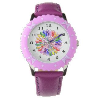 Flicka för regnbågeFloweretbarn armbandsur för