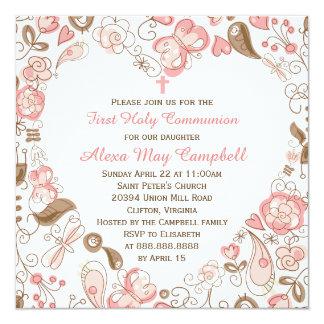 Flicka för rosa första nattvardsgång fyrkantigt 13,3 cm inbjudningskort