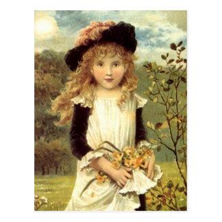 Flicka för samlare för påsklilja för vykort
