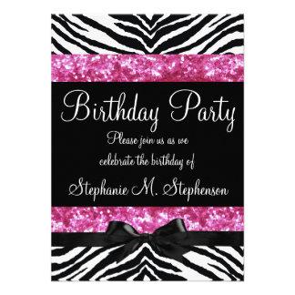 Flicka för shock rosagnistrasebra födelsedag anpassningsbara inbjudningskort