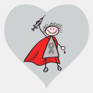 Flicka för sockersjukaInsulinSuperhero Hjärtformat Klistermärke