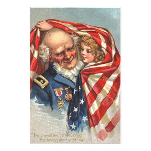 Flicka för veteran för US-flaggakrig Fotografiska Tryck