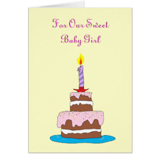 Flicka första födelsedag för tårta hälsningskort