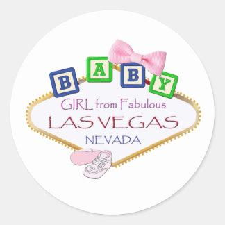 Flicka från Las Vegas klistermärkear Runt Klistermärke