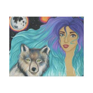 Flicka & henne varg canvastryck