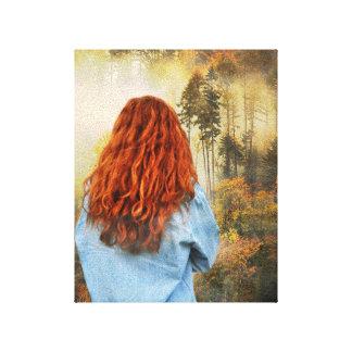 "Flicka i en dimmig skog 8"" x10 "", canvastryck"