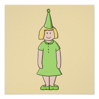 Flicka i en grön födelsedagOutfit. Print