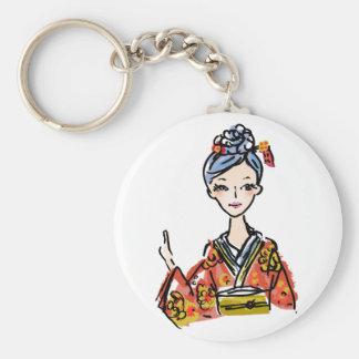 Flicka i kimono rund nyckelring