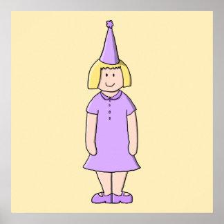 Flicka i lila färgfödelsedagsfestOutfit. Print