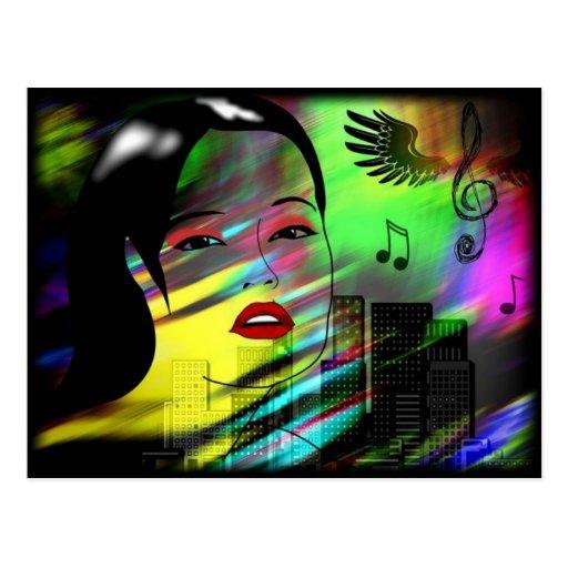 Flicka i musik vykort