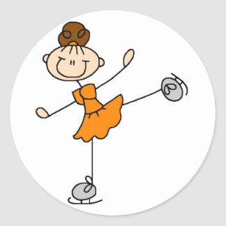 Flicka i orange isskaterklistermärke runt klistermärke