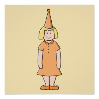 Flicka i orange klänning- och födelsedagsfesthatt posters