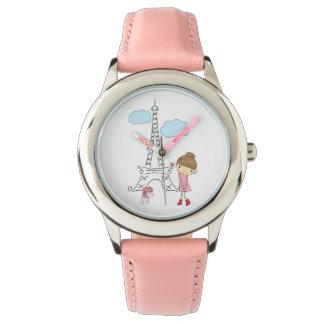 Flicka i Paris med pudelklockan Armbandsur