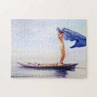 """""""Flicka i pilbåge av kanot"""" - John La Farge Pussel"""