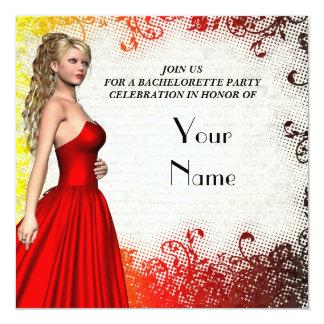 Flicka i rött klänningbacheloretteparty fyrkantigt 13,3 cm inbjudningskort