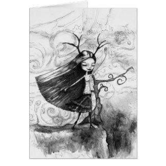 Flicka i vinden hälsningskort