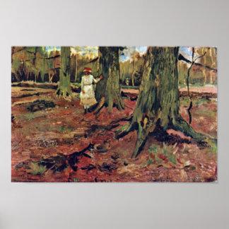 Flicka i vit i skogen av Vincent Van Gogh Poster