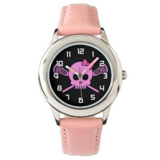 Flicka klocka för skalle för Lacrosse rosa